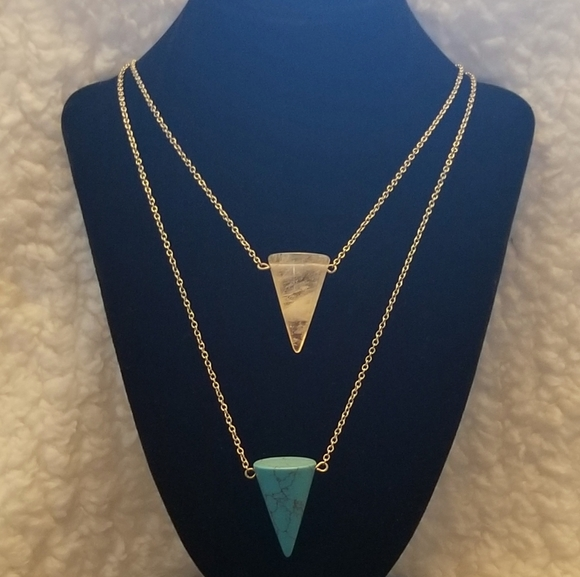 JS Collections Jewelry - JS faux turquoise and raw crystal necklace